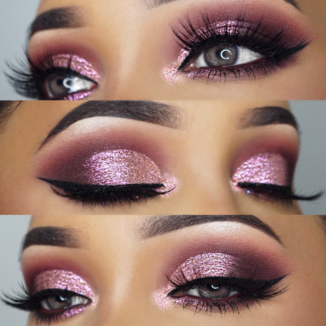 Pink Smokey Makeup Idea For Grey Eyes #smokeyeyes #pinkshadow