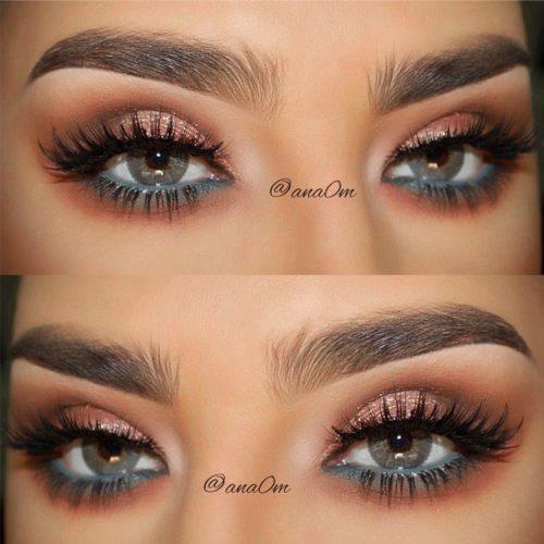 Shimmer Makeup Idea For Grey Eyes #shimmershadow #pencilline