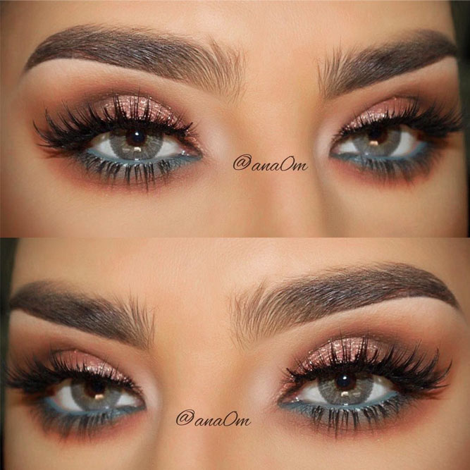 Shimmer Makeup Idea For Grey Eyes #shimmershadow #pencilline