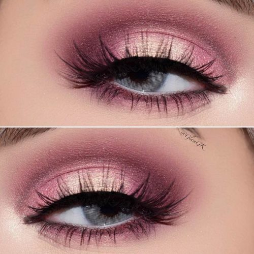 Simple Pink Eye Shadow Makeup Idea