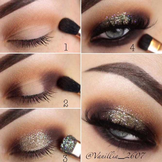 Shimmer Smokey Eyes Makeup Step By Step