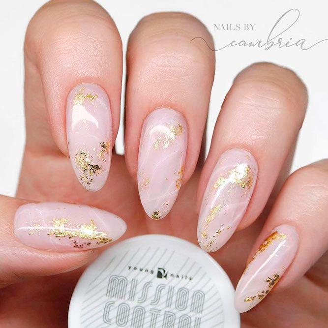 Marble Nail Art With Gold Foil #nudenails #marblenails