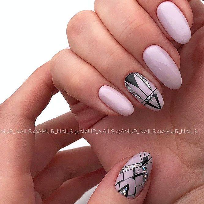 Lavander Nails Design With Geometric Art #geometricart #nudenails
