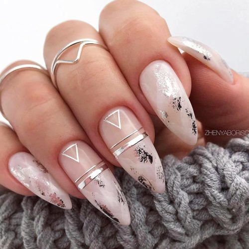 Marble Nails Design With Triangle Accents #stripednails #marblenails