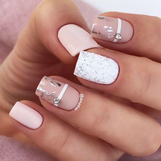 Mixed Homecoming Nails Design #silverfoil #crystalsnails