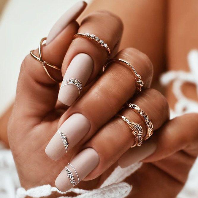 Matte Nails With Crystals Nails Art #mattenails #crystalsnailsart