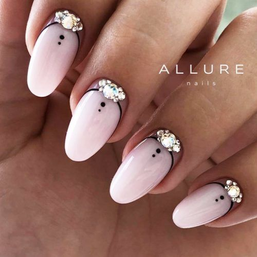 Matte Nude NAils With Black Art And Crystals Design #crystalsnails #mattenails