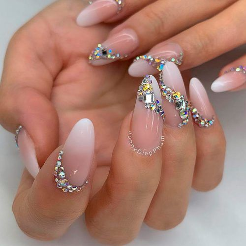 Elegant Nude Nails With Rhinestones #rhinestones #frenchfade