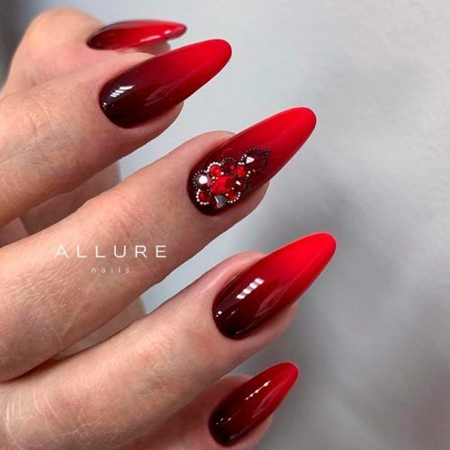 Red Ombre Nail Art With Rhinestones #rednails #ombrenails