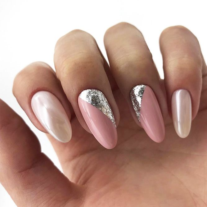 Nude Nails With Glitter Triangles #glitternails #shimmernails