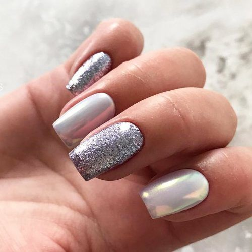 Silver Glitter With Mirror Powder Nails Design #silverglitter