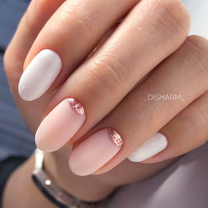 Delicate Manicure Ideas With Glitter Half Moons For Homecoming Event #ovalnails #longnails #mattenails #nudenails #glitternails #halfmoonnails