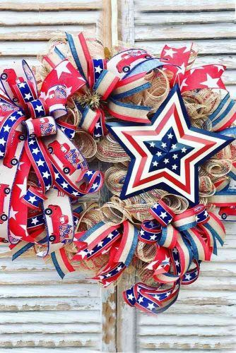 Ribbon Patriotic Wreath Design #ribbons