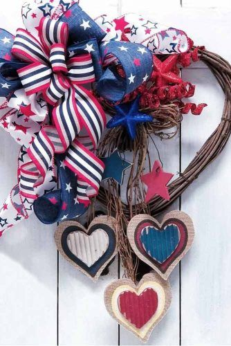 Patriotic Heart Wreath #stars #stripes