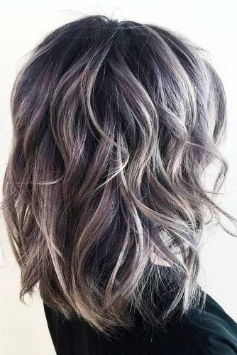 Sexy Silver Lob with Dark Roots