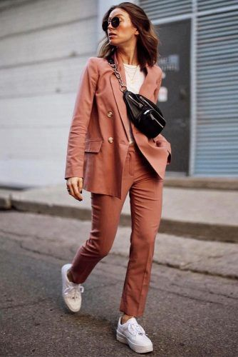 Stylish Casual Outfit With Power Suit And Sneakers #sneakers