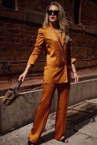 Orange Silk Power Suit Design #silkpowersuit