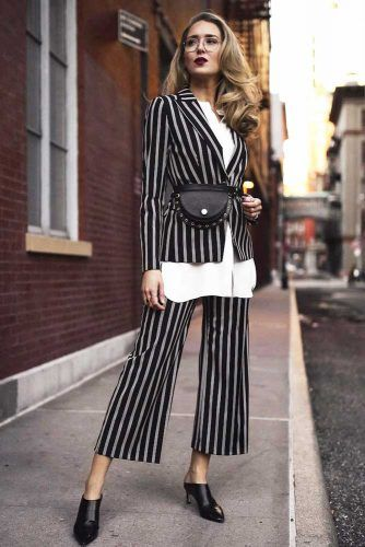 Black Striped Power Suit Design #stripedsuit