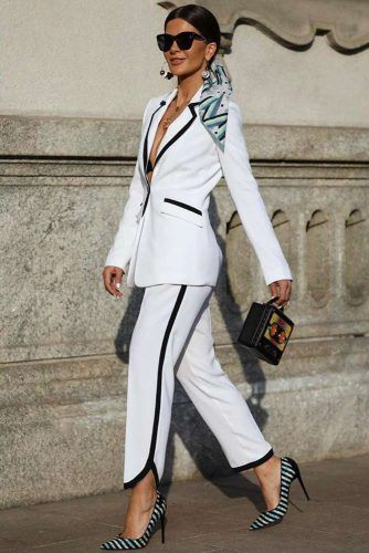 White And Black Power Suit Design #whitepowersuit