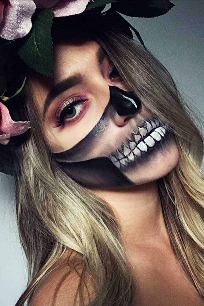 Half Face Sugar Skull Makeup Idea