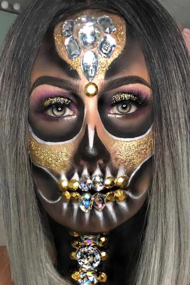 Black And Gold Sugar Skull With Crystals #goldglitter