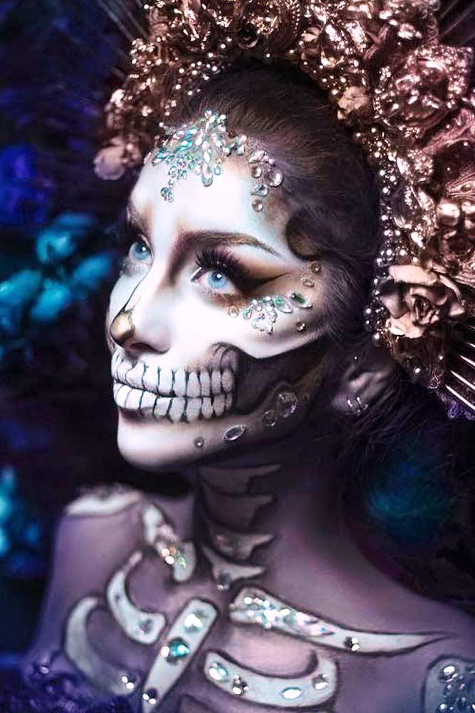 Glam Sugar Skull Makeup #crystalsmakeup