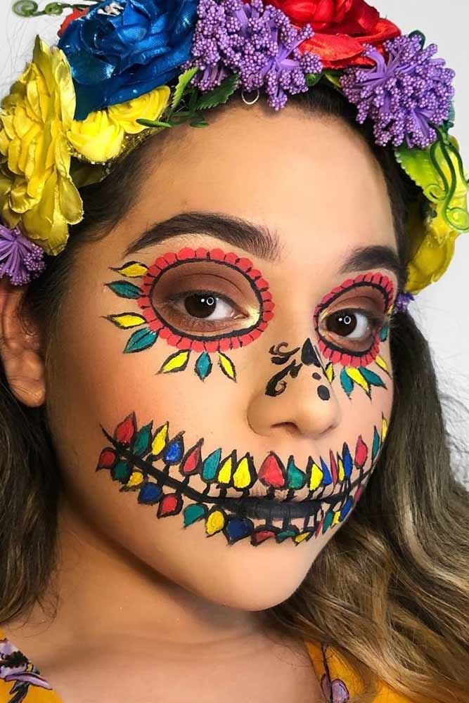 Floral Colorful Sugar Skull Makeup #floralsugarskull