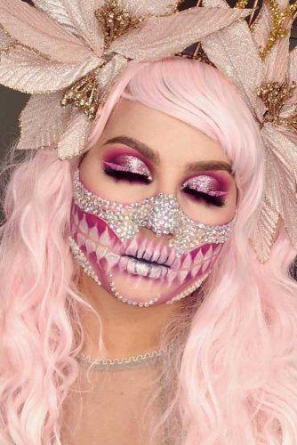 pink Glam Sugar Skull Makeup #glittermakeup #crystals