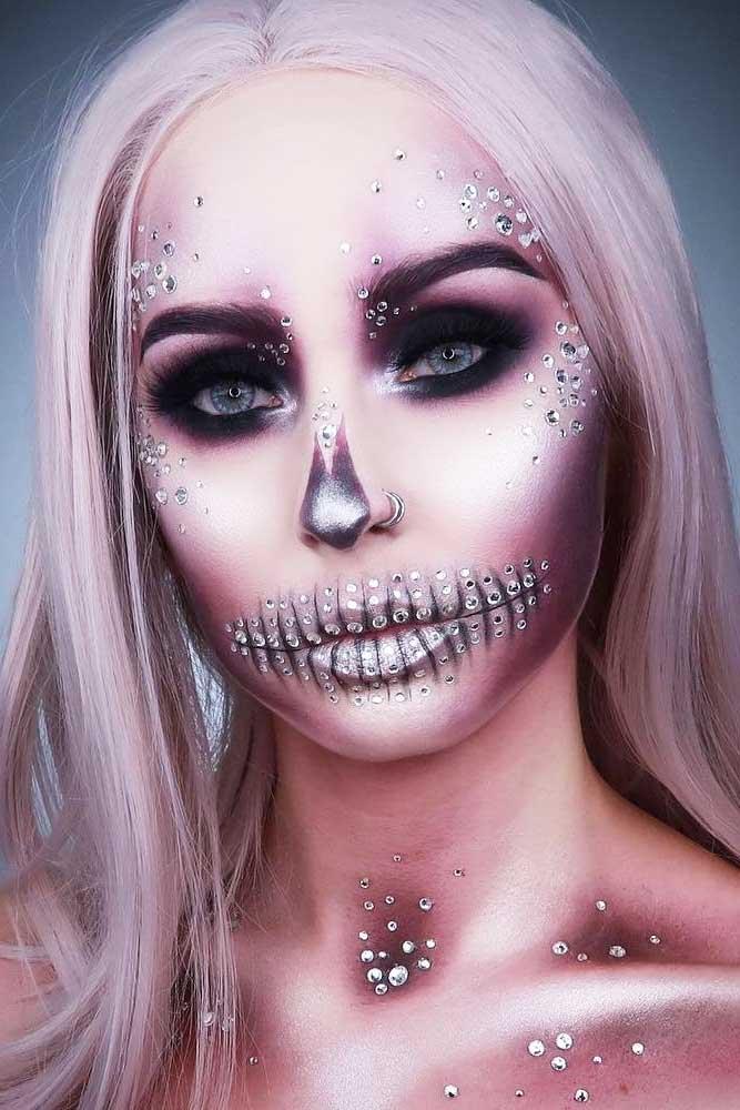 Crystals Sugar Skull Makeup #crystalsmakeup