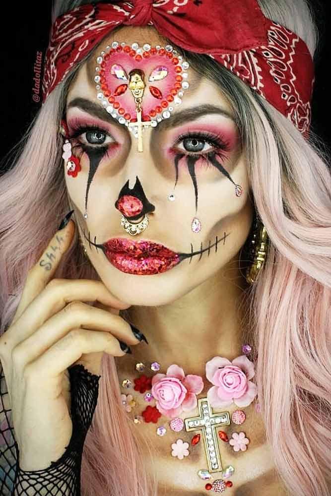 Red Glitter Sugar Skull Idea With Crystals #heartart #glittersugarskull