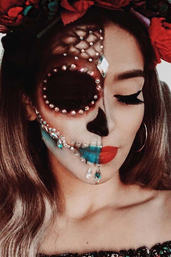 Half Face Sugar Skull #crystals #halfface