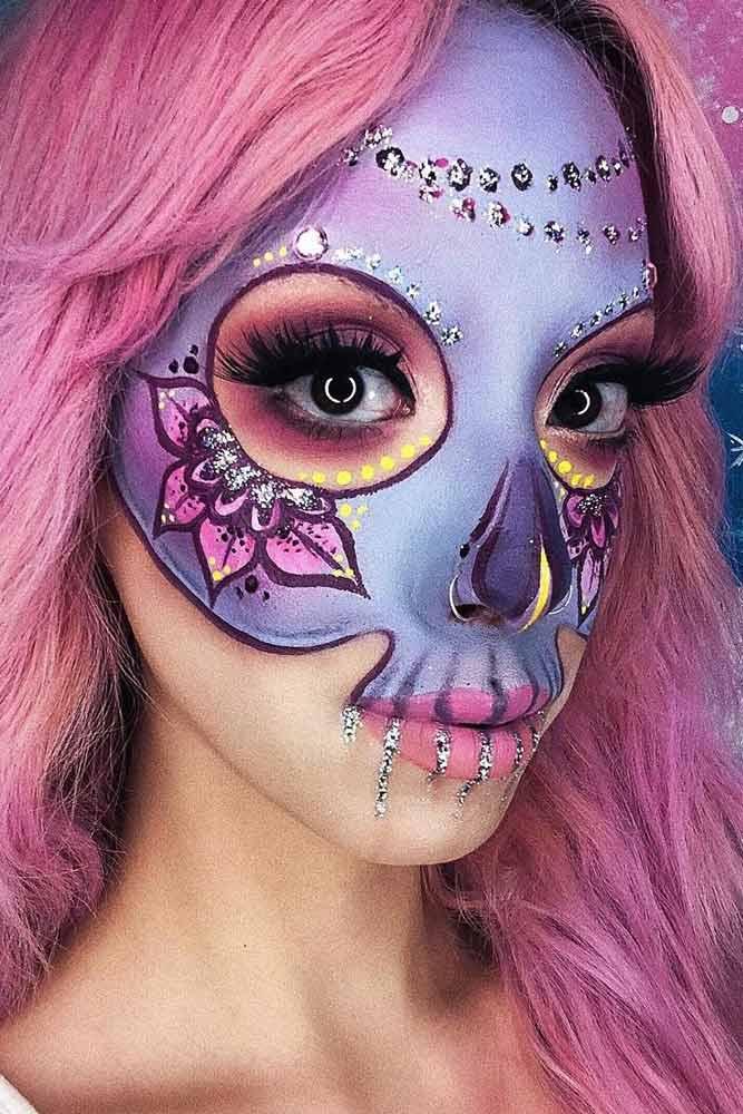 Sugar Skull Mask Makeup Idea #maskmakeup #flowerart