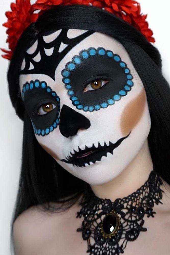 Matte Sugar Skull Face Art #web #blackeyes