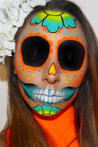 Orange Sugar Skull Makeup Idea #orangesugarskull