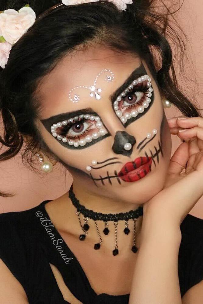 Cat Sugar Skull Makeup Idea #catmakeup #pearls