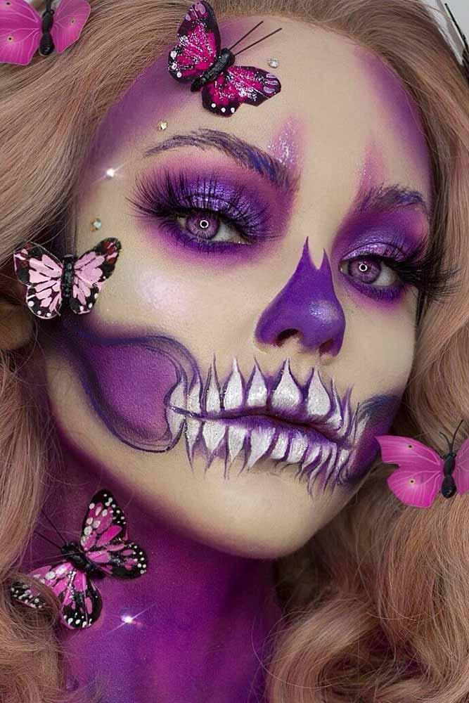 Purple Skull Halloween Makeup #purpleskull