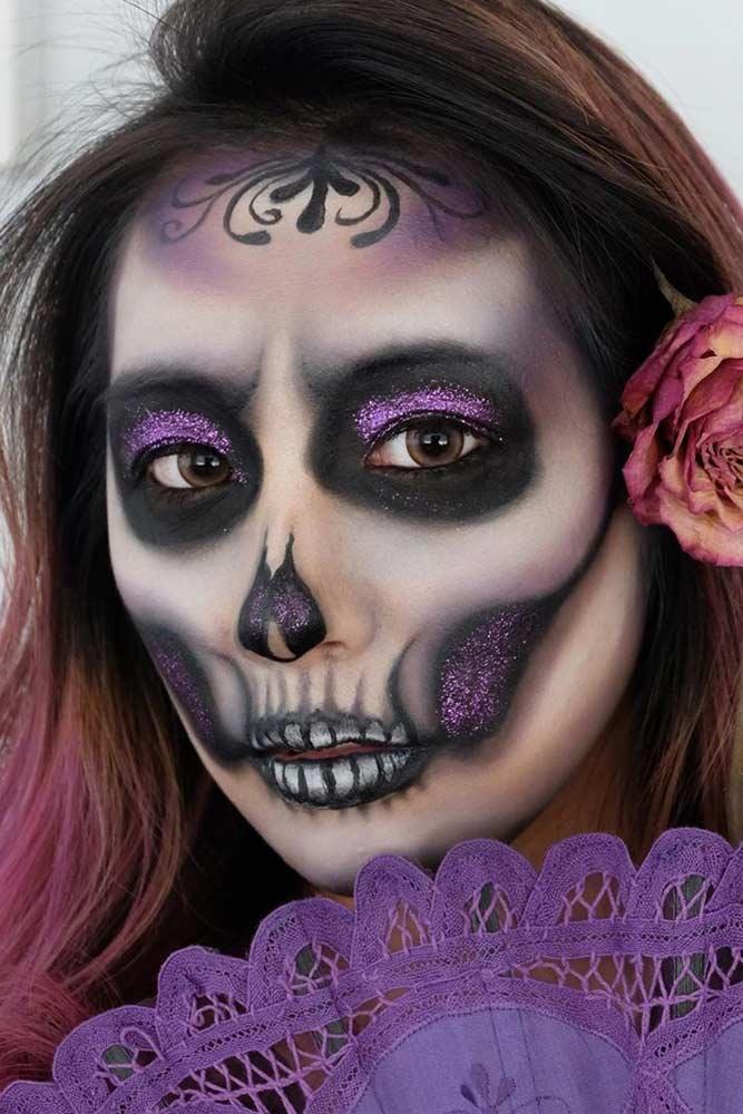 Black And Purple Sugar Skull Idea #purpleglitter #purplesugarskull