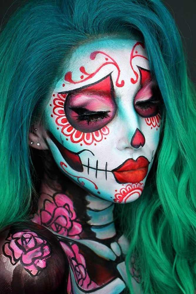 Red Flower Sugar Skull Makeup