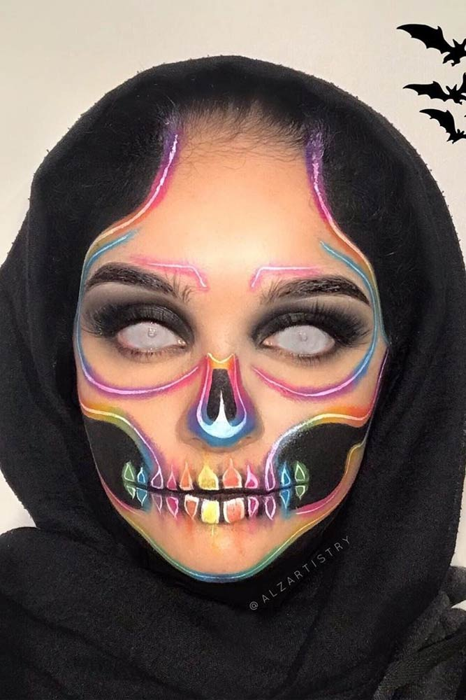 Neon Sugar Skull Makeup #neonsugarskull