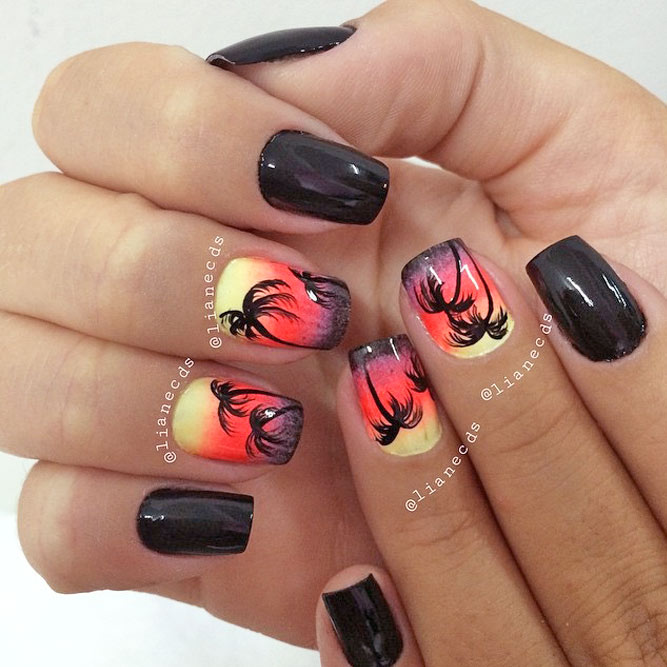 Sunset Tropical Nail Art Ideas picture 2