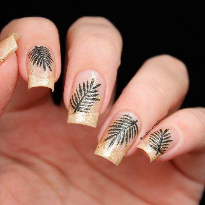 Gold Glitter Ombre Nails #glitternails #ombrenails