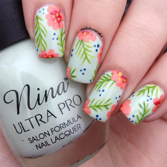 Tropical Summer Nails with a Flower Pattern picture 5
