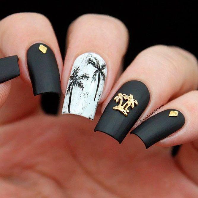 Matte Black Nails With Gold Studs #mattenails #blacknails