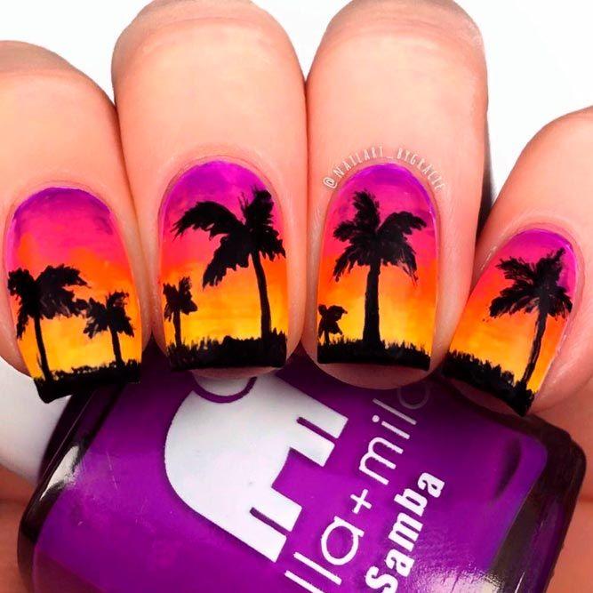Tropic Sunset Gradient #ombrenails #shortnails