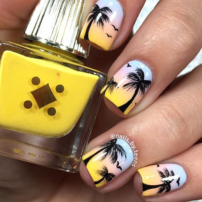 Sunset Tropical Nail Art Ideas picture 4