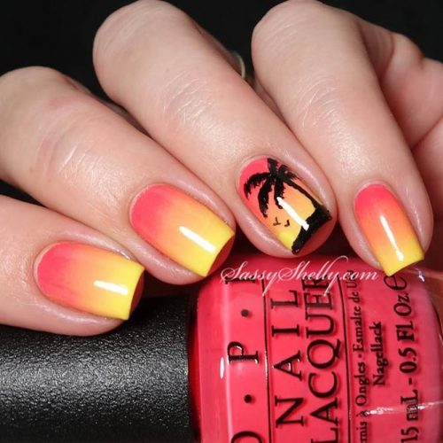 Sunset Tropical Nail Art Ideas picture 1