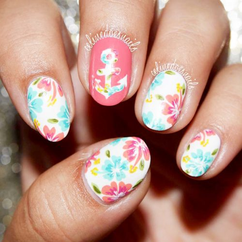 Tropical Summer Nails with a Flower Pattern picture 3