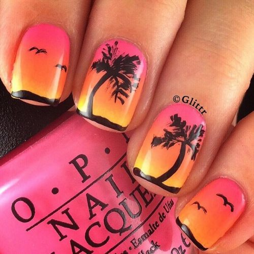 Sunset Tropical Nail Art Ideas picture 6