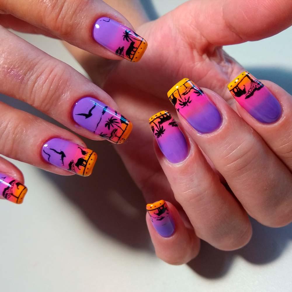 Summer Sunset Tropical Nail Art Ideas #ombrenails #brightnailart