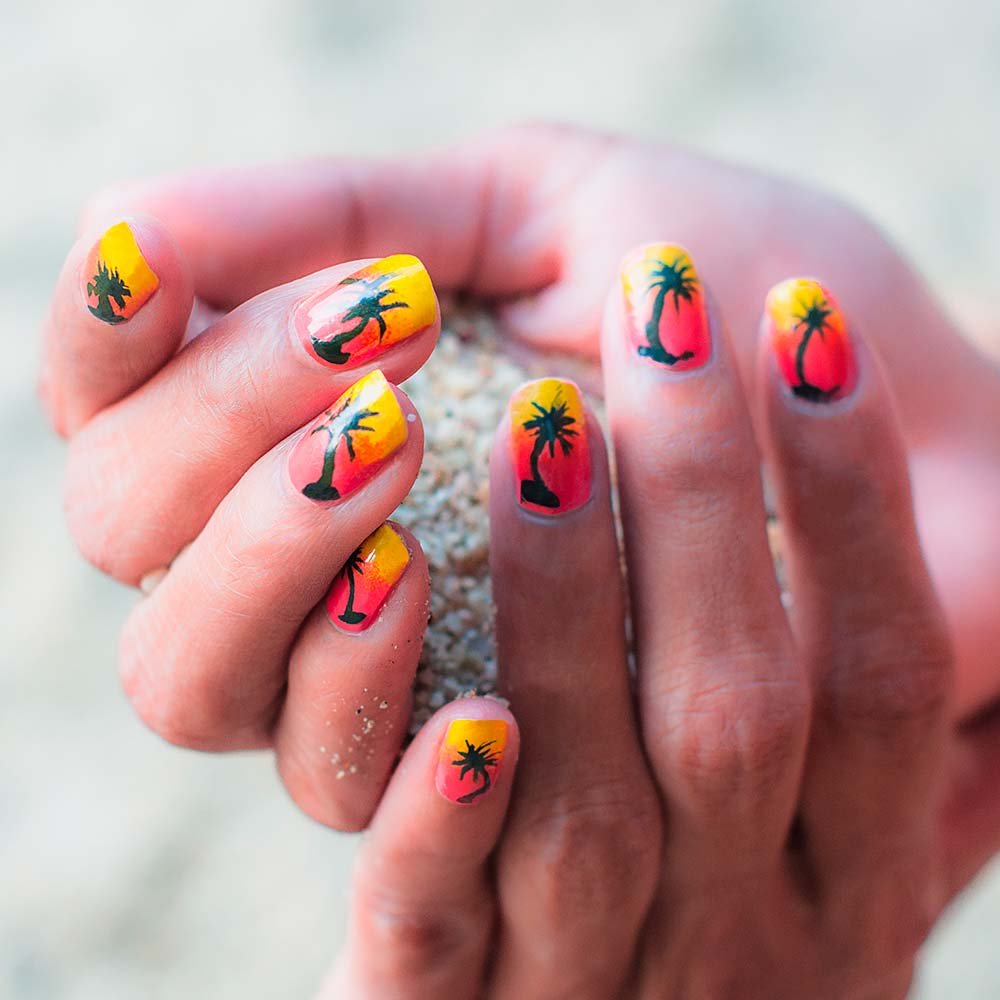 Sunset Tropical Nail Art Ideas For Summer #nailart #nailsdesigns